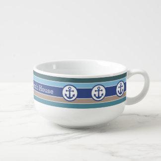 Nautical Anchors & Stripes custom soup mug