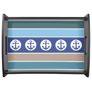 Nautical Anchors & Stripes serving trays