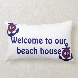 Nautical Anchors Welcome to our Beach House Lumbar Cushion