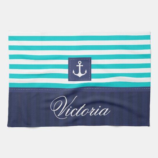 Nautical Aqua Blue Stripes Anchor Personalised Tea Towel
