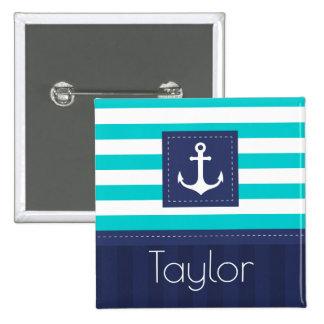Nautical Aqua Navy Stripes Personalized Name 15 Cm Square Badge