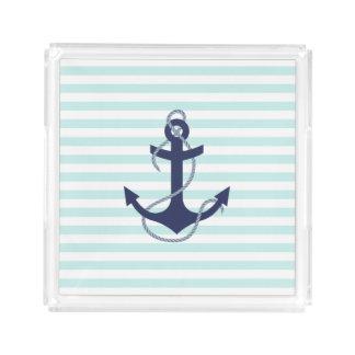 Nautical Aqua & White Stripes Navy Blue Anchor