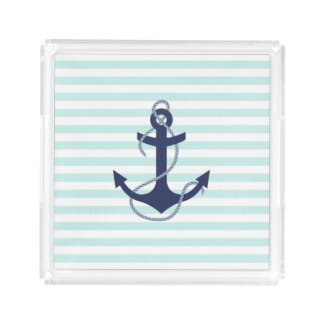 Nautical Aqua & White Stripes Navy Blue Anchor Acrylic Tray