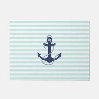 Nautical Aqua & White Stripes Navy Blue Anchor Doormat