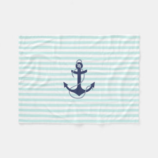 Nautical Aqua & White Stripes Navy Blue Anchor Fleece Blanket