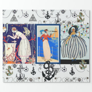 NAUTICAL ART DECO BEAUTY FASHION WITH ANCHORS WRAPPING PAPER