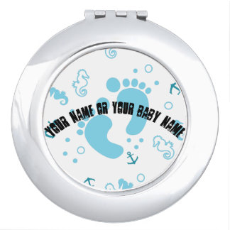 Nautical baby boy blue pattern mirror for makeup