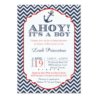 Nautical Baby Boy Shower Invitation, Chevron Card