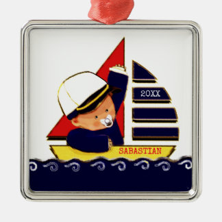 Nautical Baby Boy Silver-Colored Square Decoration