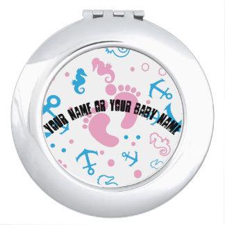 Nautical baby girl custom background color vanity mirror
