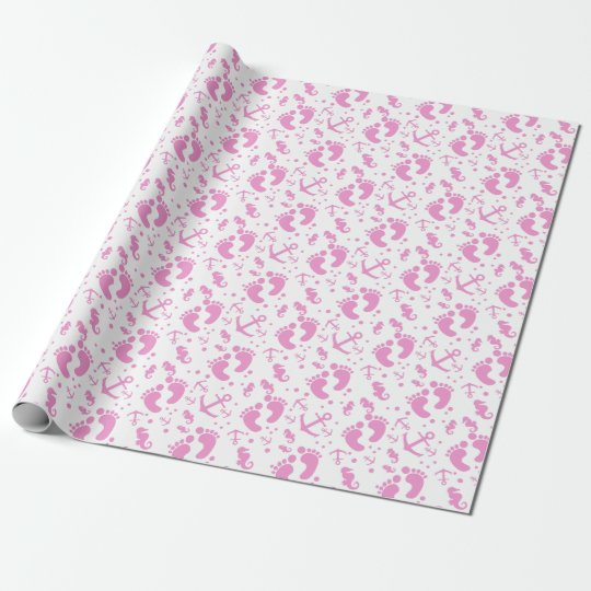 Nautical baby girl custom background colour wrapping paper