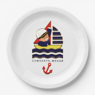 Nautical Baby Shower 9 Inch Paper Plate