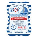 Nautical Baby Shower; Blue & White Stripes 13 Cm X 18 Cm Invitation Card