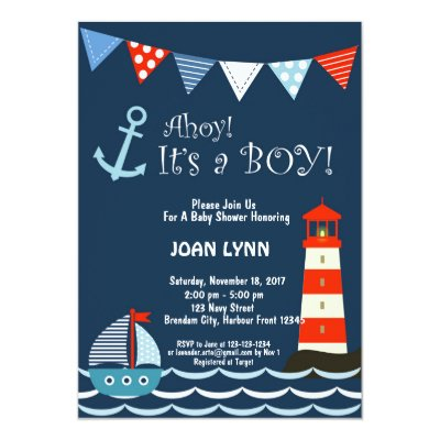 Sailboats Anchors And Crabs Nautical Baptism Invitation