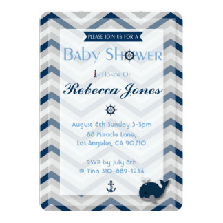 Nautical Baby Shower Invitation Boy Blue Chevron