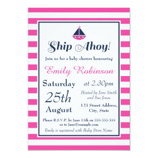 Nautical Baby Shower Invitation Girl, Ship Ahoy!