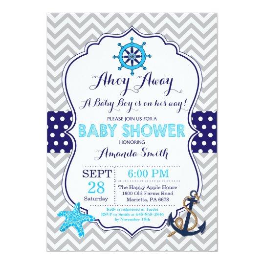 Nautical Baby Shower Invitation Navy Blue Grey