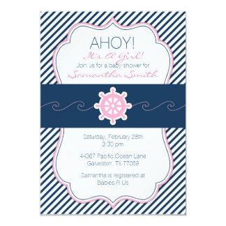 Nautical Baby Shower Invitation-Navy Blue & Pink Card