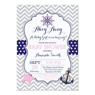 Nautical Baby Shower Invitation Navy Pink Gray