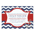 "Nautical Baby Shower Invite. Navy blue and red. 5"" X 7"" Invitation Card"