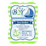 Nautical Baby Shower; Lime Green & Blue 13 Cm X 18 Cm Invitation Card