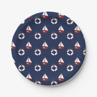 Nautical Baby Shower Ocean Pattern Paper Plates