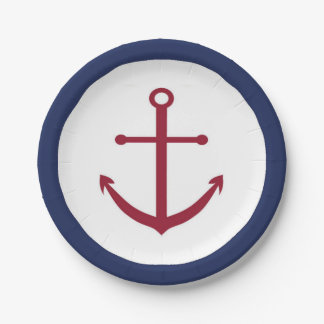 Nautical Baby Shower Red Anchor Paper Plate