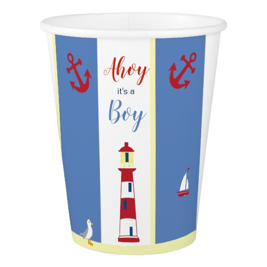 Nautical  Baby themed Blue and Yellow and Red Paper Cup