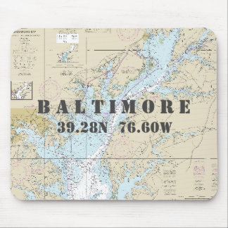 Nautical Baltimore Maryland Latitude Longitude Mouse Mat