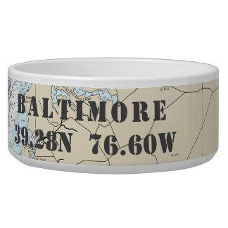 Nautical Baltimore MD Latitude Longitude Dog Bowl