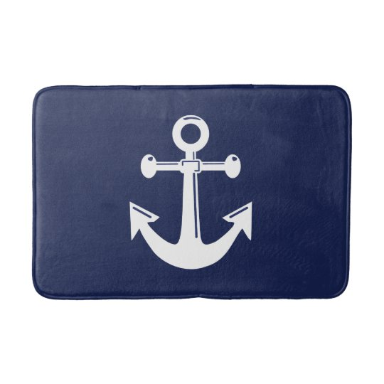 Nautical Bath Mat Navy Blue And White Anchor