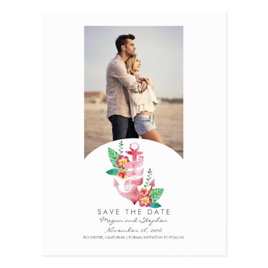Nautical Beach Anchor Photo Save the Date Postcard