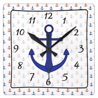 Nautical  Beach blue red Anchor Clock