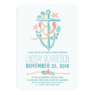 "Nautical beach bridal shower invitations 5"" x 7"" invitation card"