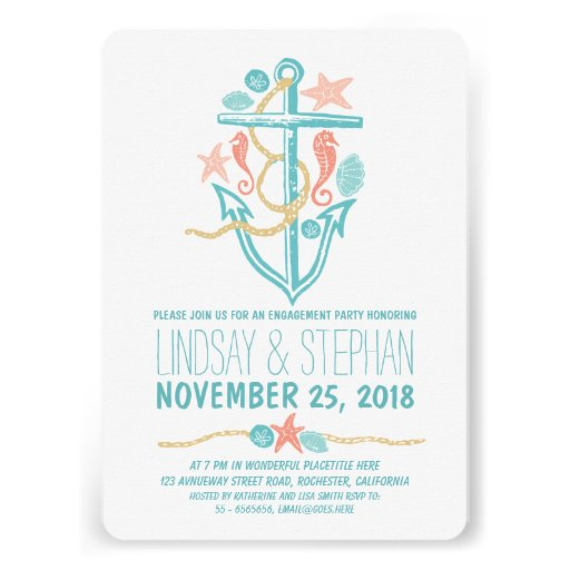 Nautical beach engagement party invitations personalized invitations