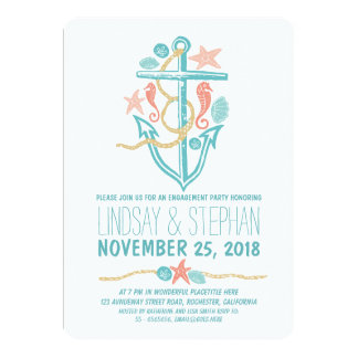"Nautical beach engagement party invitations 5"" x 7"" invitation card"