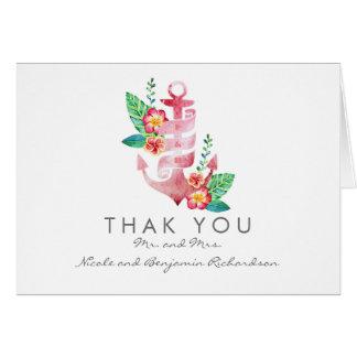 Nautical Beach - Floral Anchor Wedding Thank You Card
