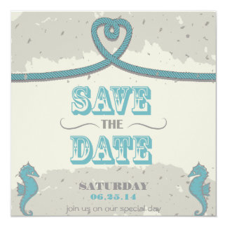 Nautical Beach Heart Knot Save the Date 13 Cm X 13 Cm Square Invitation Card