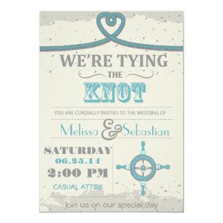 "Nautical Beach Heart Knot  Wedding Invite 5"" X 7"" Invitation Card"