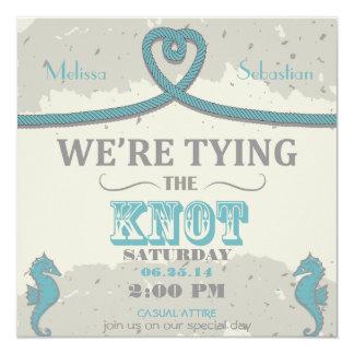 """Nautical Beach Heart Knot  Wedding Invite 5.25"""" Square Invitation Card"""