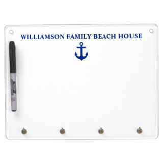 Nautical Beach House Family Name Anchor Dry Erase Board With Key Ring Holder