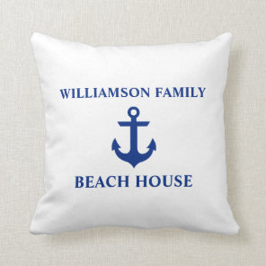 Nautical Beach House Family Name Anchor White Cushion