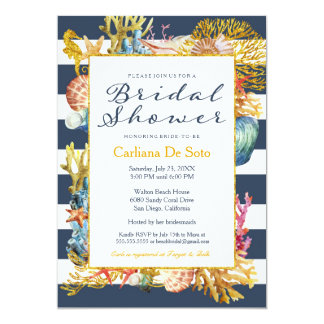 Nautical Beach, Navy Gold Glitter - Bridal Shower Card