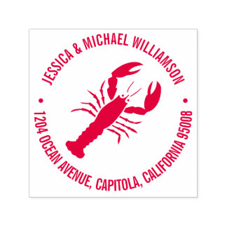 Nautical Beach Ocean Lobster Return Address Self-inking Stamp