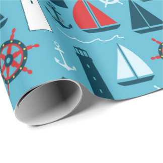 Nautical beach pattern wrapping paper