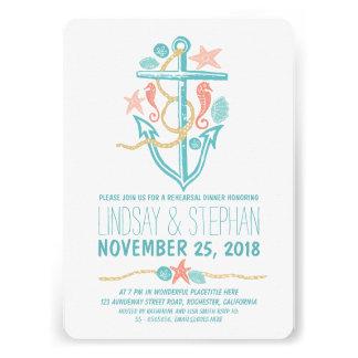 Nautical beach rehearsal dinner invitations custom invitation