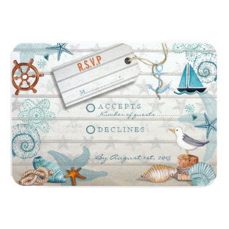 Nautical Beach   RSVP Wedding Card 9 Cm X 13 Cm Invitation Card