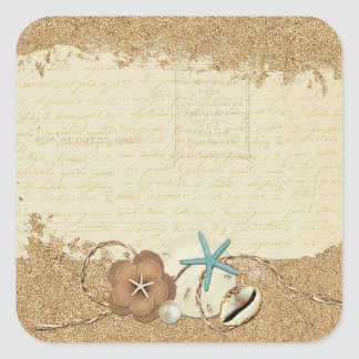 Nautical Beach Seashells & Sand Ocean Boutique Square Sticker