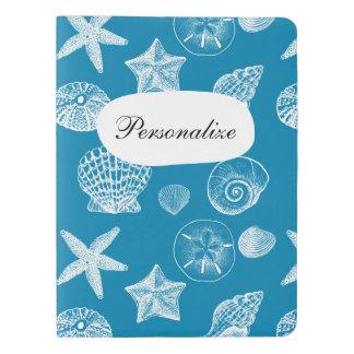 Nautical Beach Shells Aqua White Extra Large Moleskine Notebook