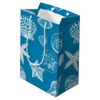 Nautical Beach Shells Aqua White Medium Gift Bag